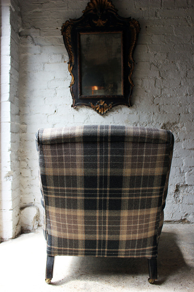 A Good Ebonised & Tartan Upholstered Victorian Armchair in the Howard Style c.1880