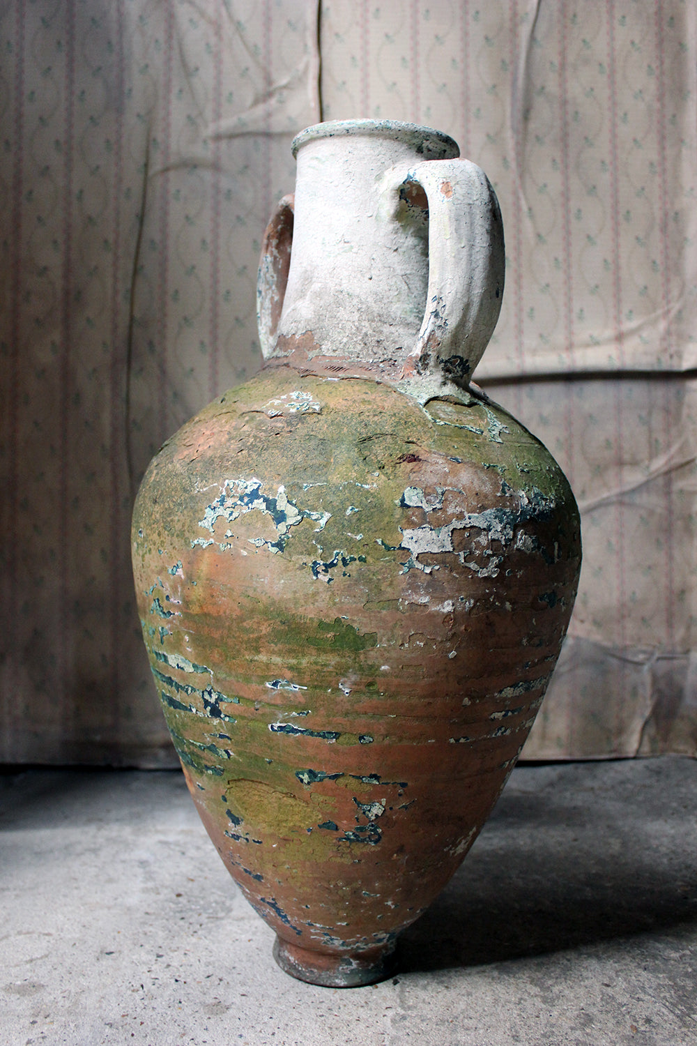 A Large & Decorative Early 20thC Italian Painted Terracotta Amphora Jar c.1900-25