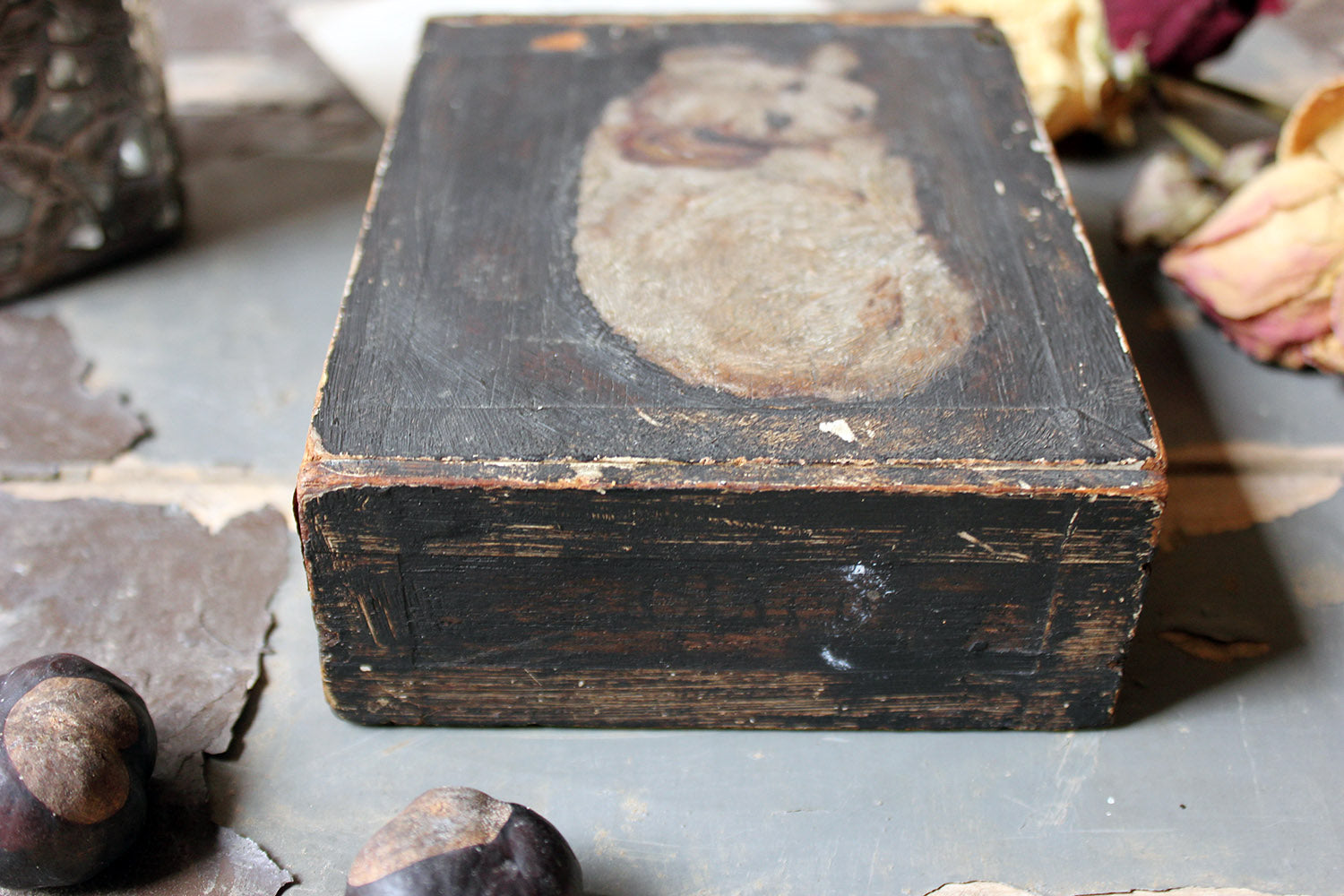 A Late 19thC Folk Art Pine Cigar Box Painted with a Study of a Border Terrier