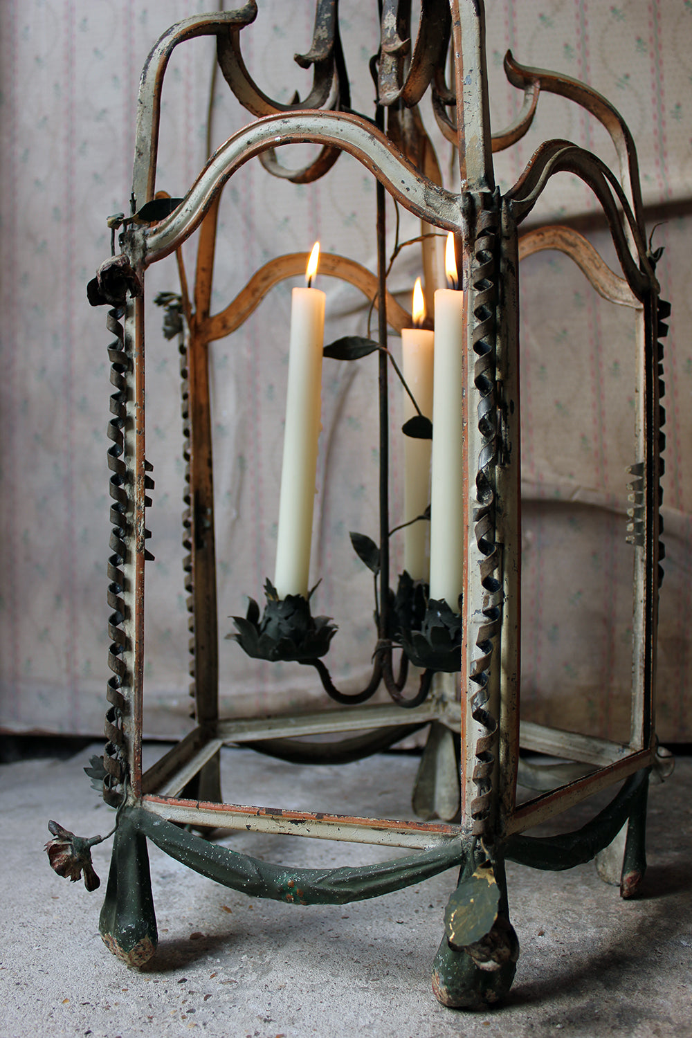 A Glorious Early 19thC French Tôle Peinte Hexagonal Hall Lantern c.1810
