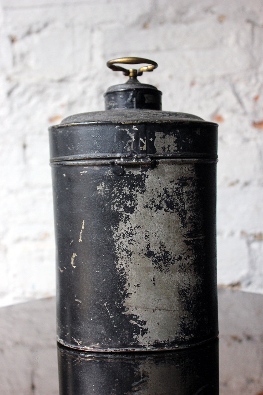 A Delightful Black Japanned Toleware Container; 'Gunpowder' c.1890