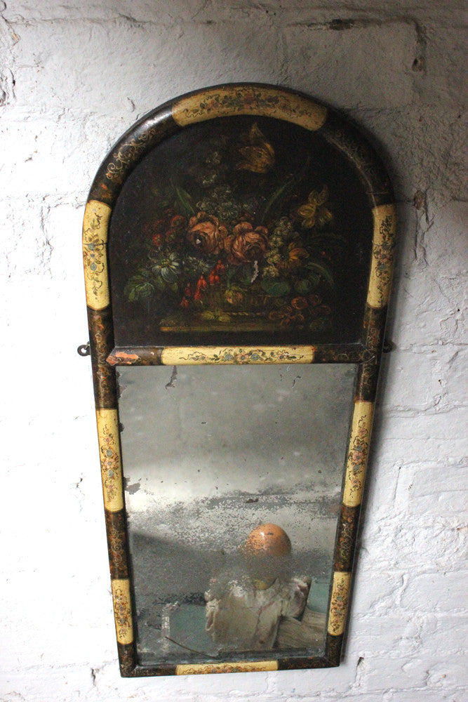 A Decorative Continental c.1800 Painted Trumeau Mirror