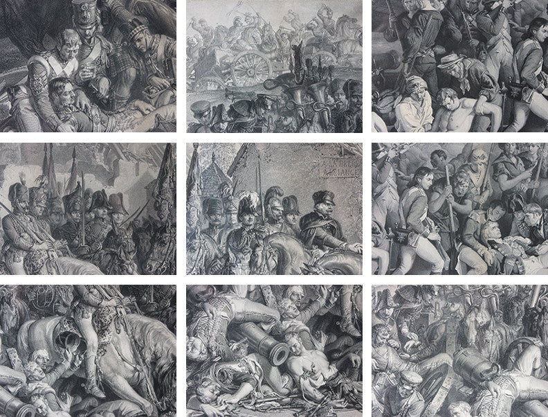 A Decorative Pair of Very Large Gilt-Framed Engravings; Charles W. Sharpe after Daniel Maclise 'The Death of Nelson at the Battle of Trafalgar' published 1876 by Art Union of London and 'Wellington and Blucher', by Lumb Stocks