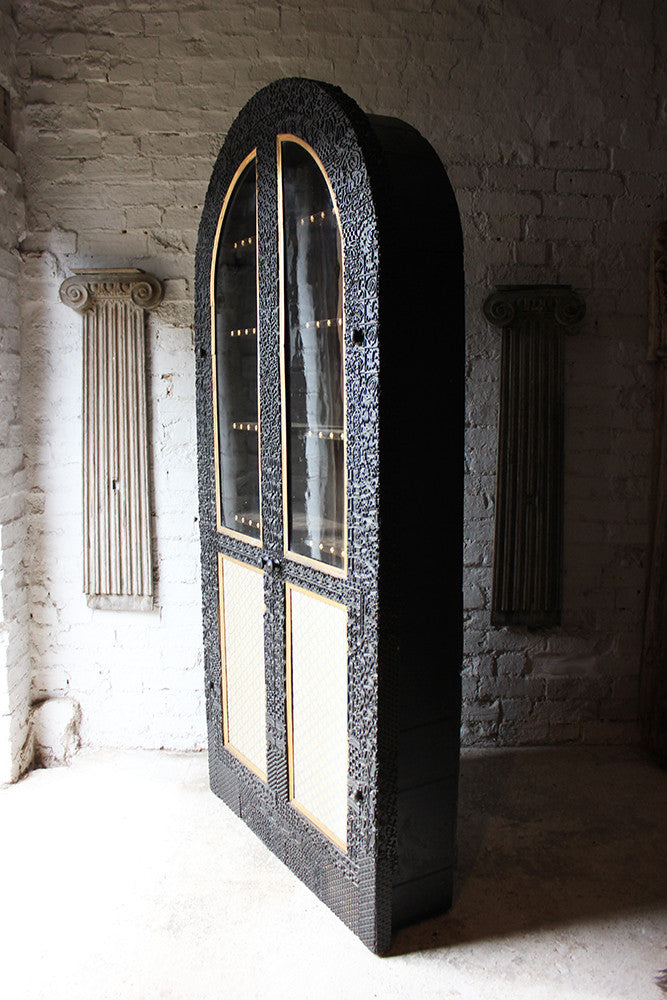 A Very Unusual Victorian Arched Ebonised Glazed Display Cabinet Constructed from Textile Printing Blocks c.1880-1900