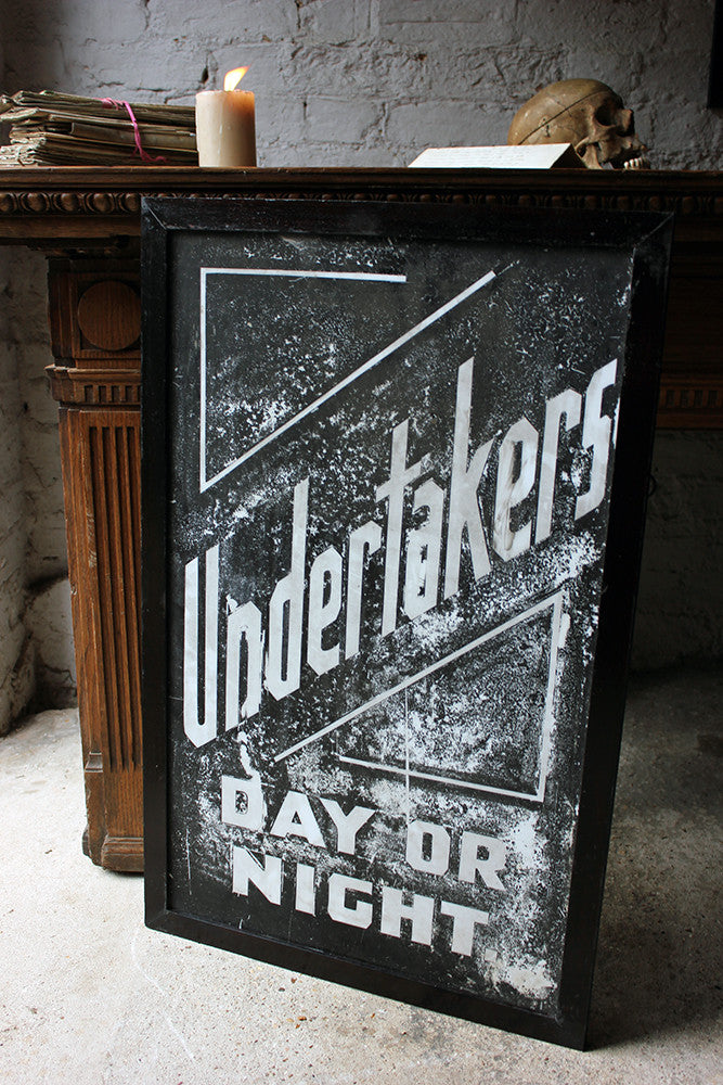 A Fabulous Pair of Opal Glass Painted Undertaker Premises Signs c.1935-45