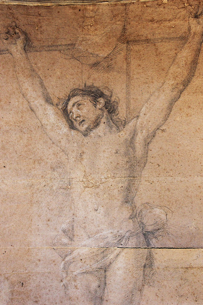 A Mid 17thC Italian Drawing of Christ on the Cross Attributed to Raffaello Vanni (Siena 1590-1657)