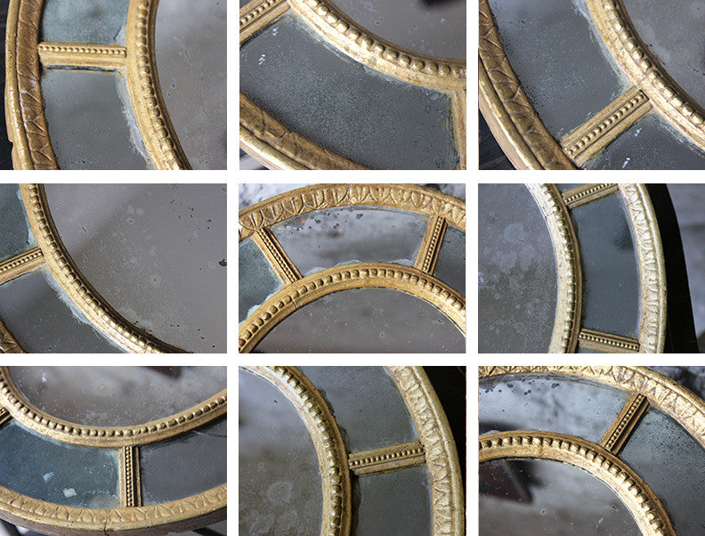 A Pretty George III Giltwood & Gesso Sectional Oval Wall Mirror c.1810