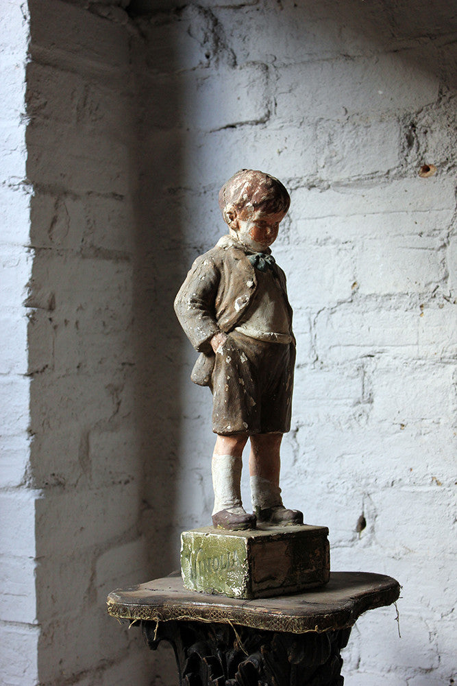 A Very Scarce c.1910 Papier-mâché & Plaster Advertising Shop Window Display Figure Modelled as a Youth for Vinolia Soap