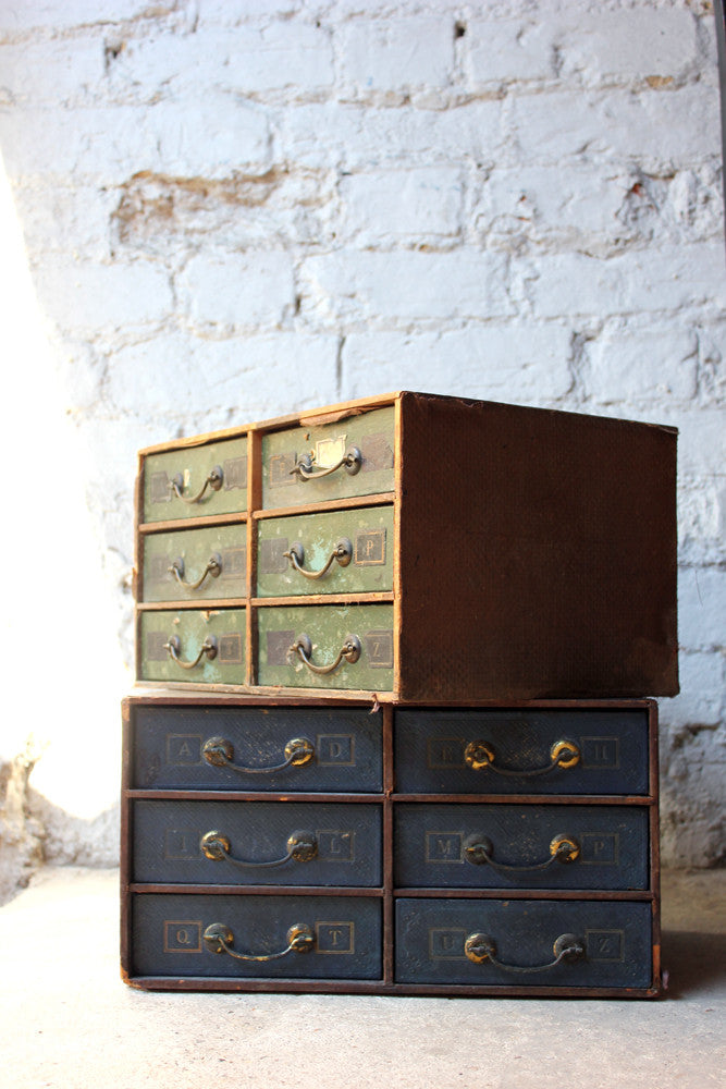 A Pair of c.1920s Leather & Pine 'Walker's Age' Octavo Cabinets