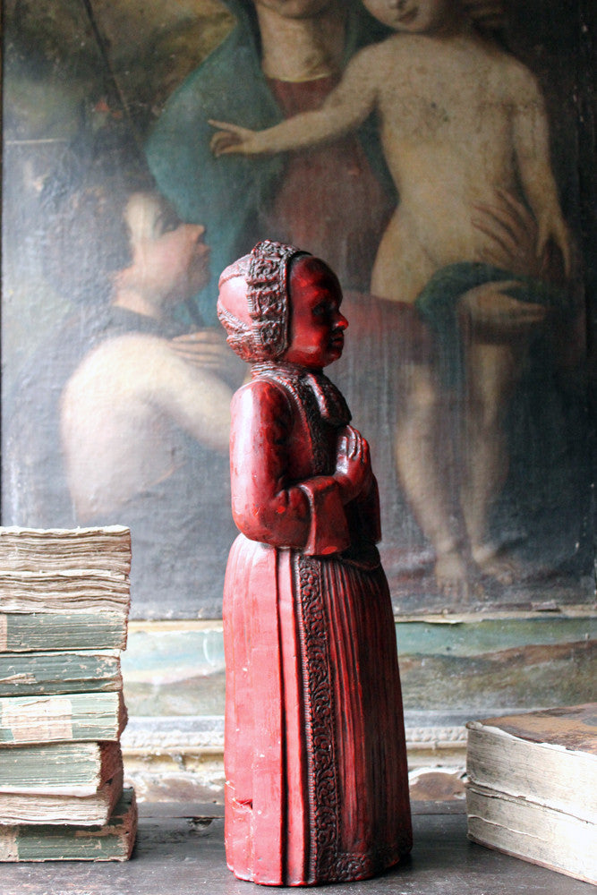 A Large 17thC Sculpted Red-Wax Figure of a Standing Child