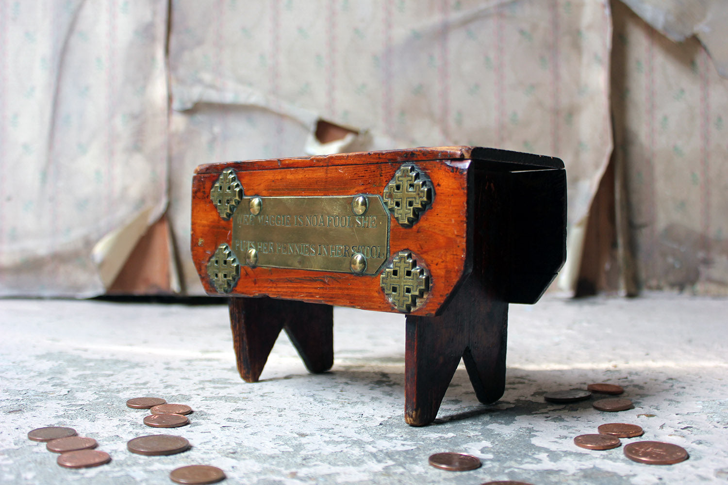 "A Folk Art Pine Money Box; ""Wee Maggie is no a fool, she puts her money in her stool"" c.1900-10"