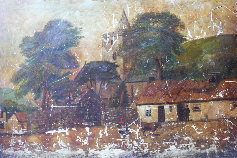 A Charming c.1860 Welsh Naive School Oil on Slate of a Village Scene