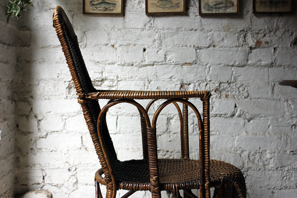 A Charming Edwardian Period Wicker Open Armchair Attributed to Dryad c.1910