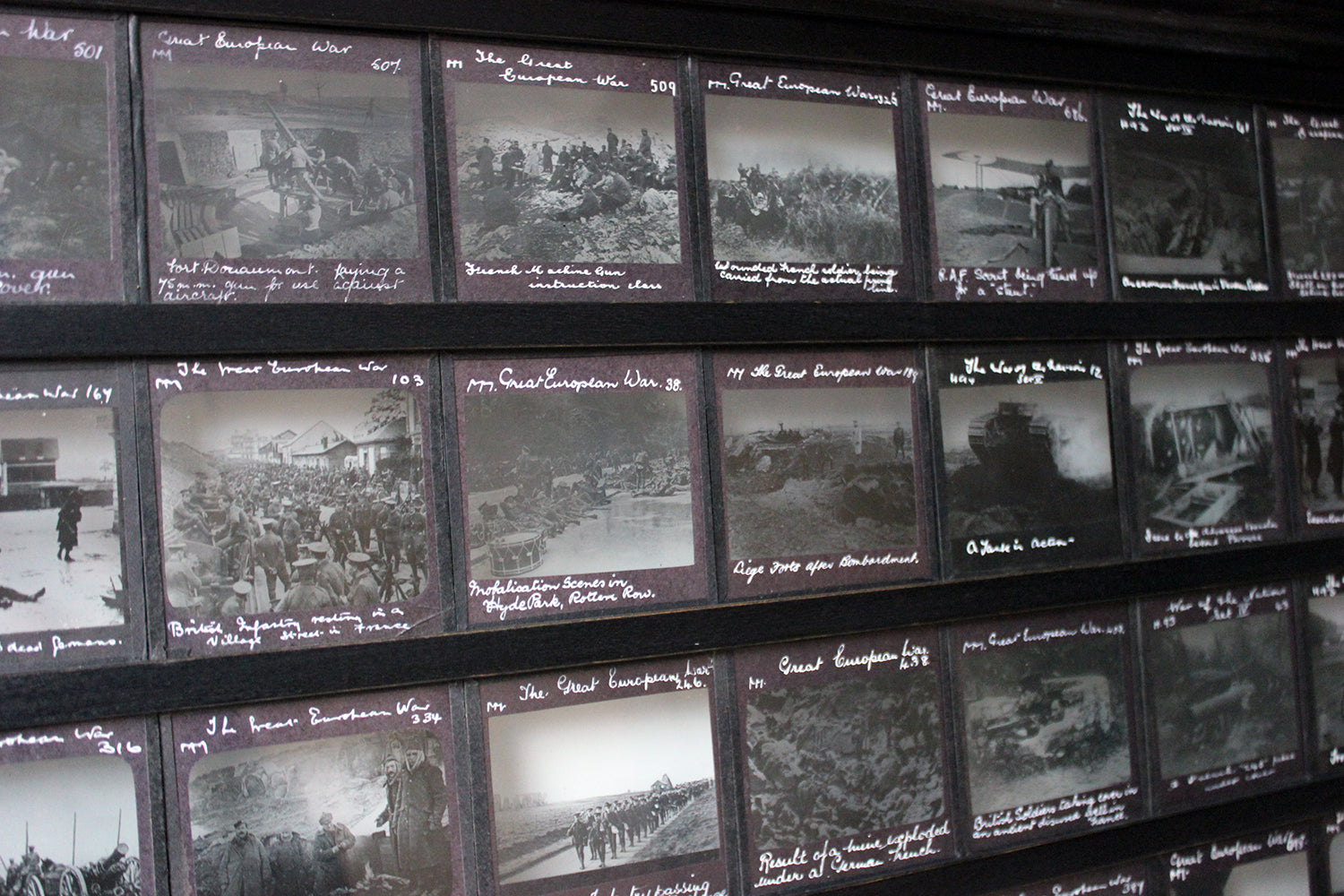 A Unique Collection of Forty-Nine Light-Box Framed Lantern Slides of WWI Interest c.1914-18