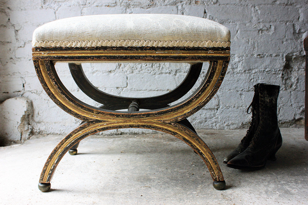 An Attractive Regency Painted & Parcel Gilt X-Framed Stool c.1810