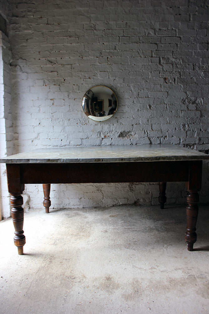 A Fabulous 19thC Victorian Pine & Zinc Topped Preparation Table c.1870-80