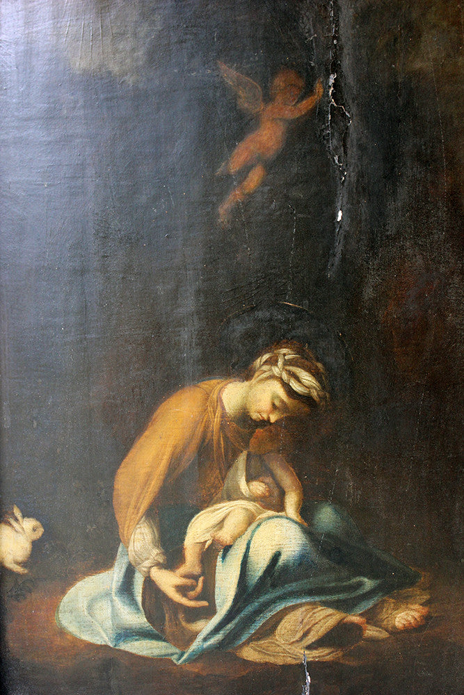 A Good 18thC Oil on Panel after Correggio: The Madonna & Child with White Rabbit; La Zingarella c.1790