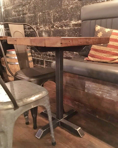 Reclaimed Wood and Steel Pedestal Pub Table