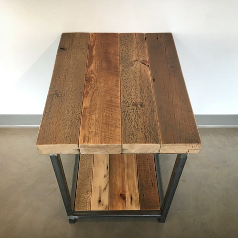 Reclaimed Wood and Steel Two-Tier Endtable
