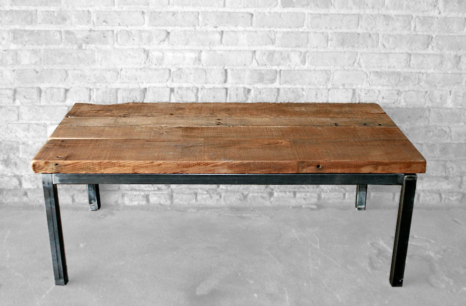 reclaimed wood and steel coffee table | wage of labor llc