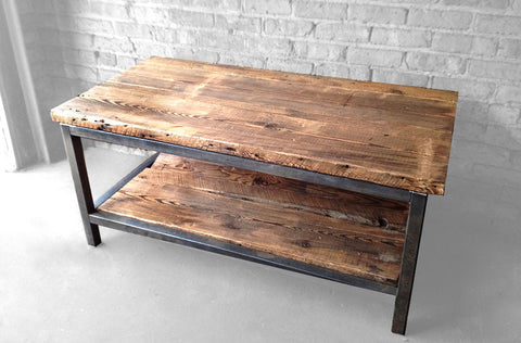 ... Reclaimed Wood And Steel Two Tiered Coffee Table