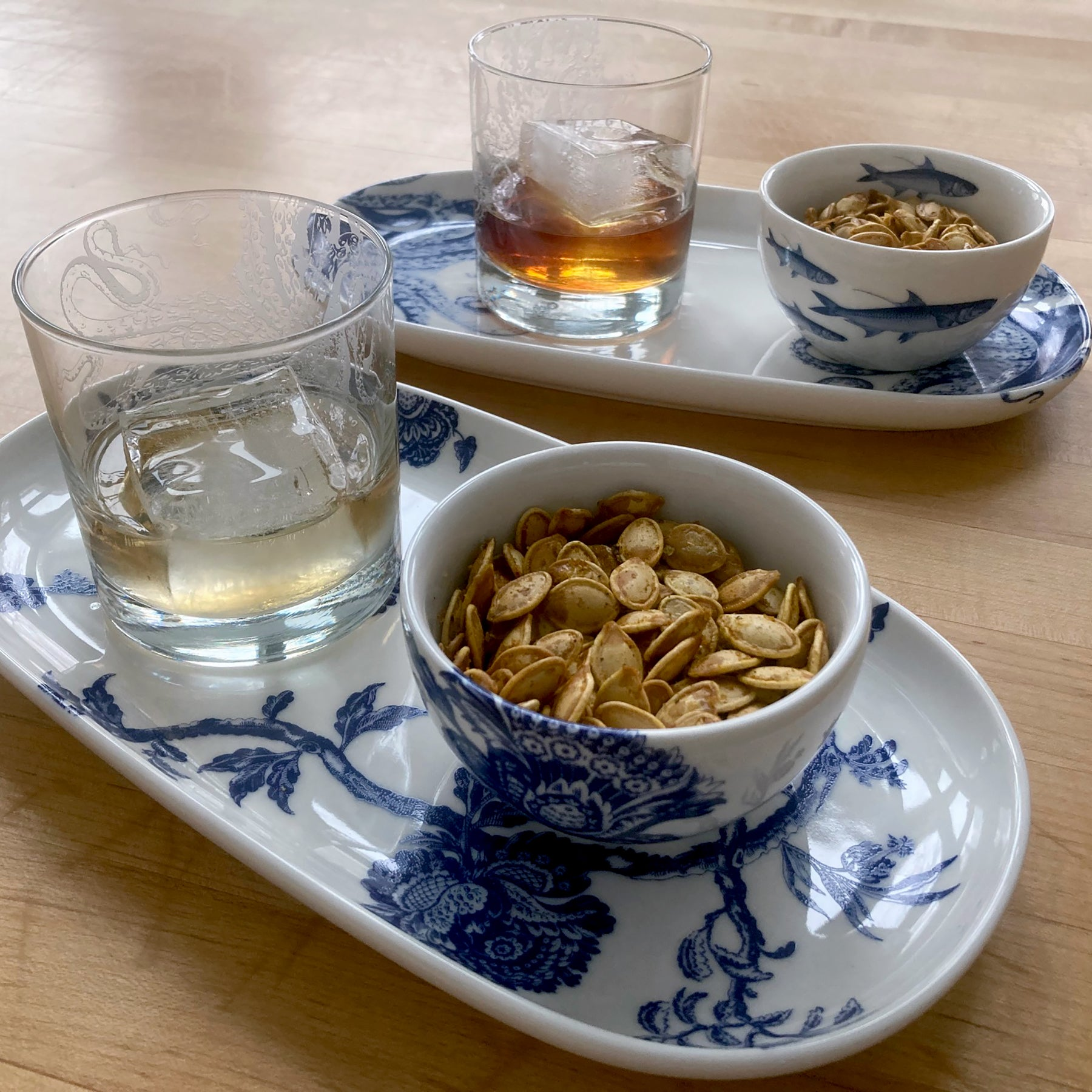 Spiced roasted pumpkin seeds on Caskata Arcadia Snack Set and Lucy on-the rocks-glass
