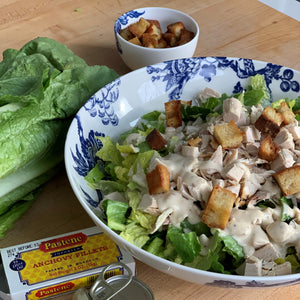 Chicken Caesar Salad and Caesar Salad Dressing from Scratch Caskata Arcadia Serving Bowl