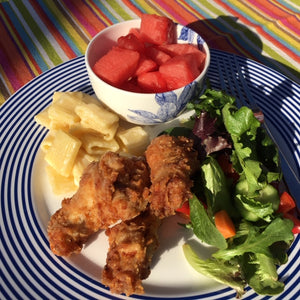 Fried Chicken Dinner with Mac and Cheese and Watermelon and Salad