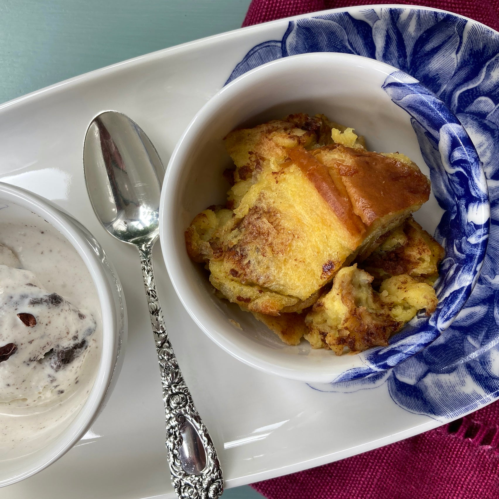 bread pudding recipe and Caskata peony snack bowl and Caskata peony small oval platter