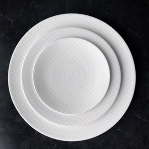 Wicker White Monogrammed Plates & Accessories