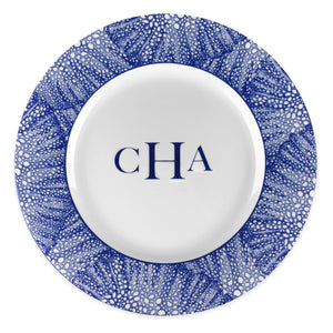 Sea Fan Blue Charger Plate Monogrammed