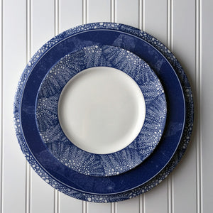 Sea Fan Blue Charger and Salad Plate with Chart Dinner Plate