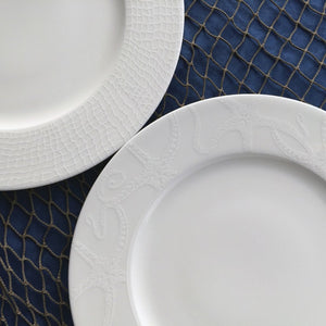 Starfish White Dinner Plate with Catch Netting Dinner Plate