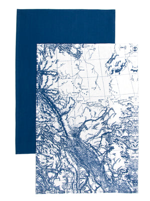 Antique Nautical Charts in Blue and White Set of 2 Kitchen Towels Paired with Solid Blue Towel