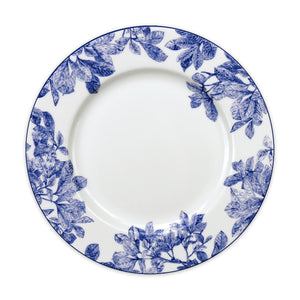 Arbor Blue Dinner Plate with Vintage Floral Leaves and Branches on Bone China