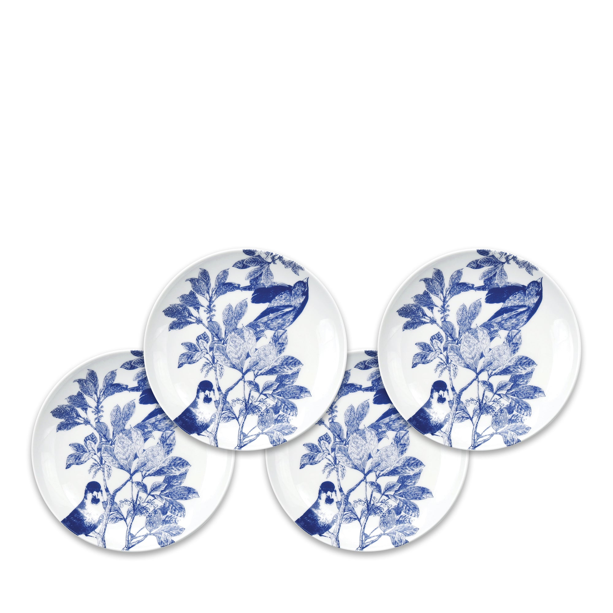 Blue Arbor Birds Canapé Plates Boxed Set/4 - Caskata