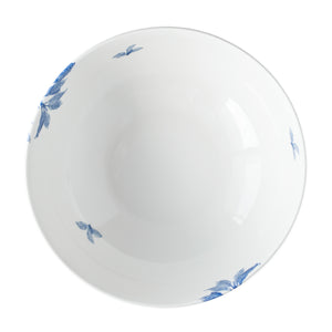 Arbor blue and white serving bowl from overhead, in premium porcelain from Caskata