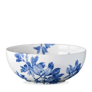 Arbor blue and white serving bowl with leaves in premium porcelain from Caskata