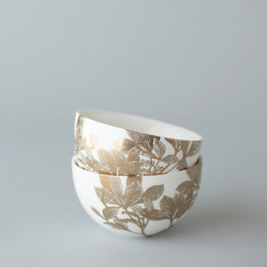 Arbor Gold Floral Small Snack Bowl in a stack of 2