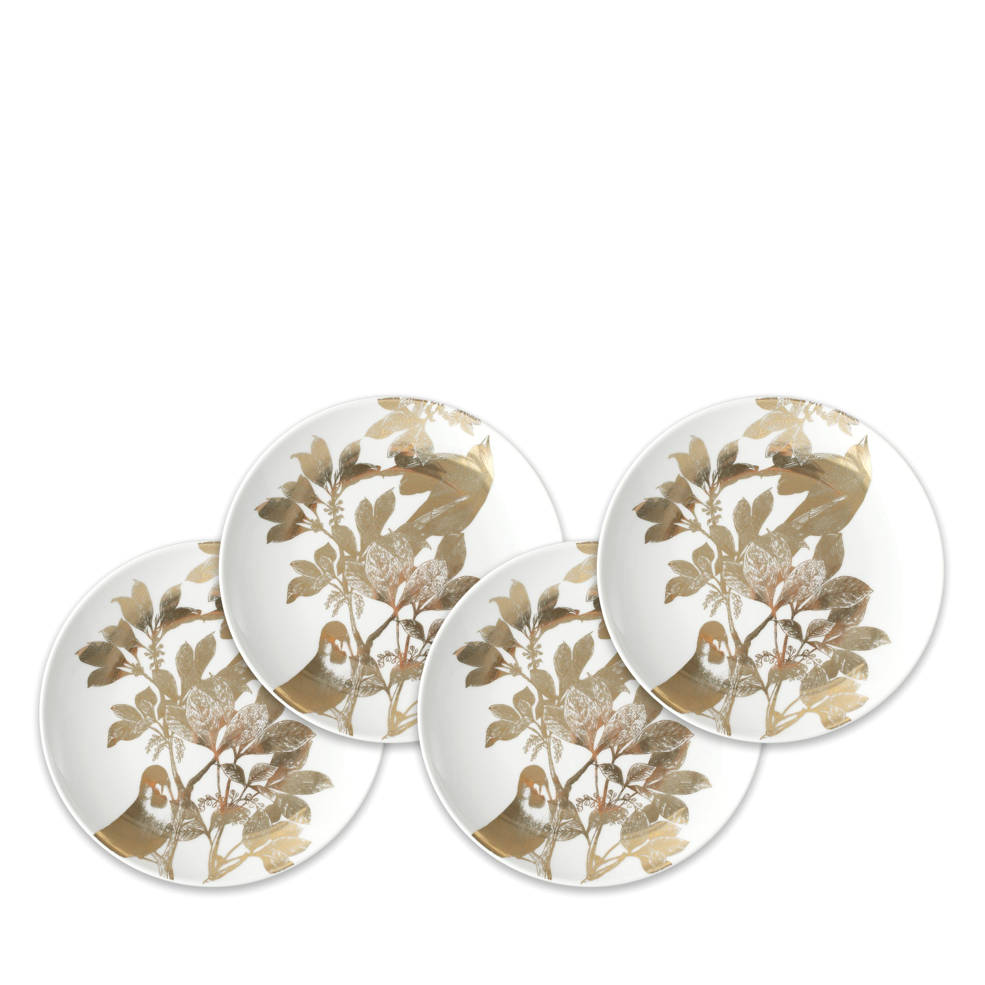 Arbor Gold Birds Canapé Plates Boxed Set/4 - Caskata