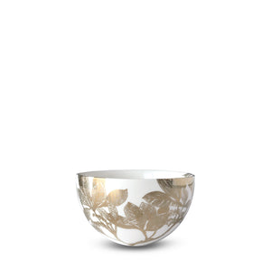Arbor Gold Floral Small Snack Bowl with Leaves and Branches in Bone China