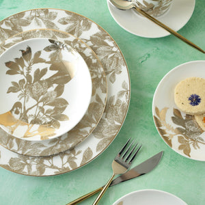Arbor Gold Dinner Plate with Arbor Gold Salad, Appetizer Plate, and Birds Appetizer Plate