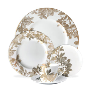 Arbor Gold 5 Piece Place Setting includes Dinner Plate, Bread Plate, Salad Plate and Cup and Saucer