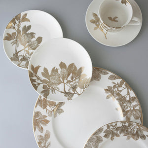 Arbor Gold Leaves and Branches Place Setting (Dinner Plate, Salad, Bread Plate, Cup & Saucer)