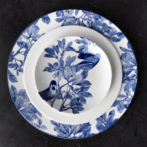 Arbor Blue Dinner Plate with Pearls Salad Plate and Arbor Blue Birds Appetizer Plate