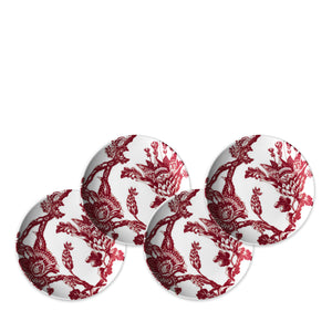 Arcadia Crimson Set of 4 Canape Bread Plates in Red and White