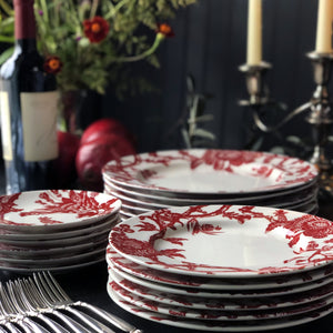 Arcadia Crimson Dinner Plates and Canape Plates Stacked on a Holiday Buffet