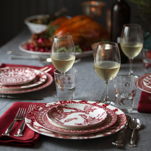 Casablanca Crimson and Arcadia Crimson Dinnerware Mixed on a Holiday Table