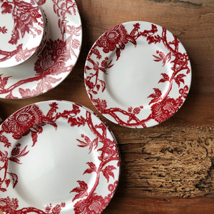 Arcadia Crimson Dinnerware Collection on Wood with Dinner Plate, Salad Plate, Canape Bread Plate and Oval Platter