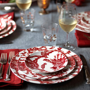 Arcadia Crimson Dinner Plate, Salad Plate, and Canape Plate in Red and White